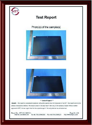 电脑防窥膜HTT测试报告